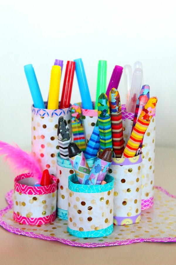 Cardboard Tube Pencil Organizer Fun Family Crafts