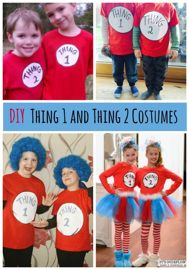 Super fun DIY Thing 1 and Thing 2 shirts, great for Dr Seuss Day or Halloween costumes!
