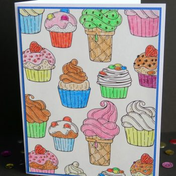 Cupcake Card from a Coloring Page