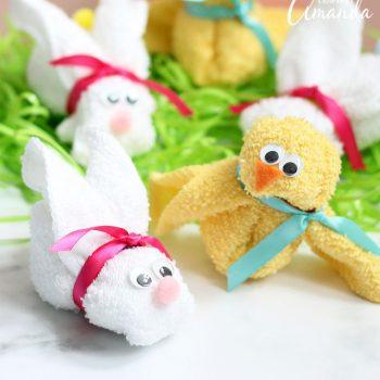Washcloth Bunny and Chick