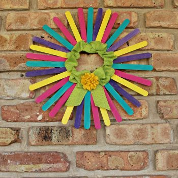 Colorful Craft Stick Wreath