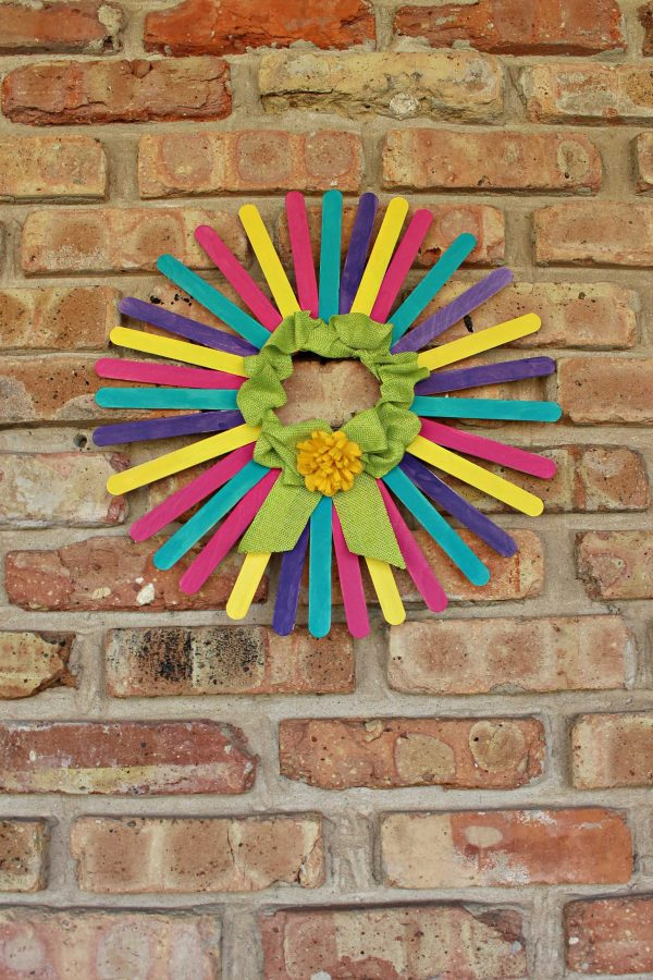 Colorful Craft Stick Wreath Fun Family Crafts