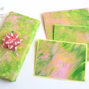Poured Paint Cards and Gift Wrap