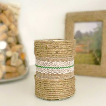 Burlap Wrapped Candle