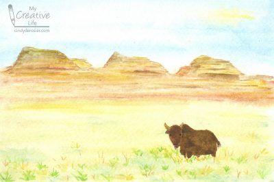 bison in the Badlands painting