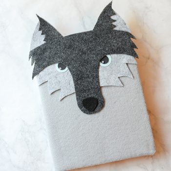 Felt Covered Wolf Notebook
