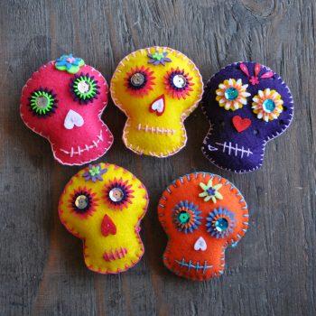Embroidered Felt Dia de los Muertos Skulls