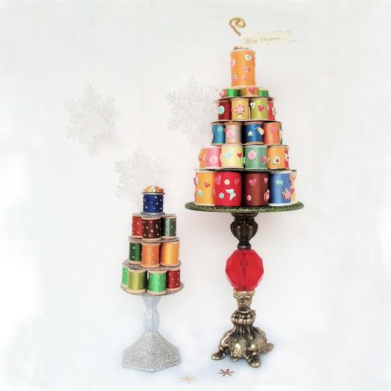 Whimsical Christmas Trees Ideas: Whimsical Thread Spool Christmas Tree