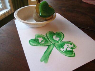 Potato Print Shamrocks   Fun Family Crafts