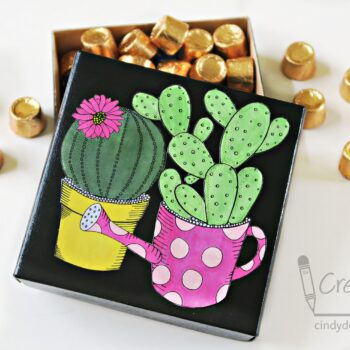 Coloring Book Cactus Gift Box