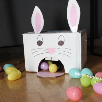 Cardboard Easter Bunny Egg Roll Game