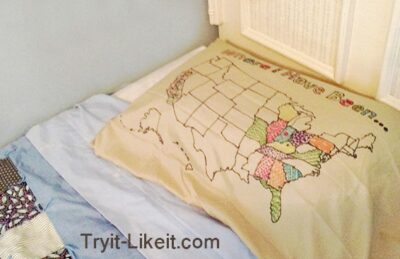 pillowcase map to show travels