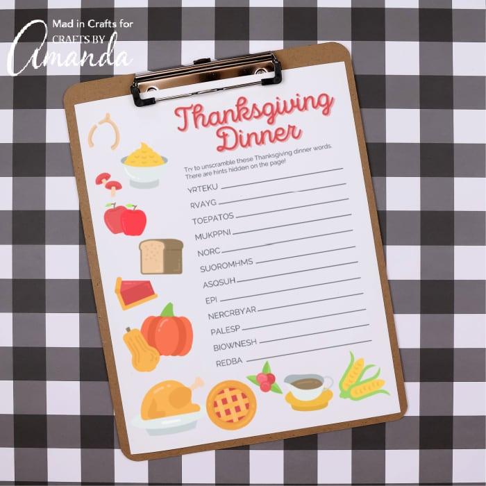 Thanksgiving Word Scramble   Fun Family Crafts